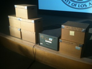 Eight boxes of files on the slain journalist. Photo: Robert J. Lopez